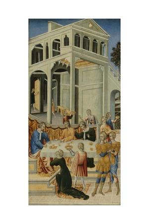 Salome Asking Herod for the Head of Saint John the Baptist, 1455-60 Giclée-tryk af Giovanni di Paolo