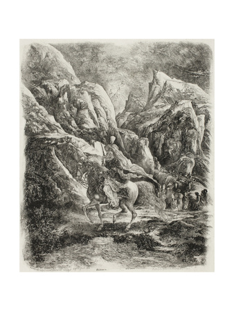 Rider in the Mountains, 1866 Giclee Print by Rodolphe Bresdin