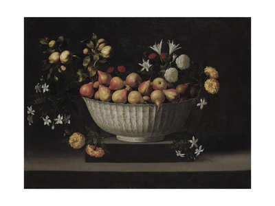Flowers and Fruit in a China Bowl, C.1645 Giclee Print by Juan De Zurbaran