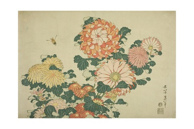 Chrysanthemums and Bee, from an Untitled Series of Large Flowers, C.1833-34 Giclee Print by Katsushika Hokusai