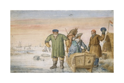Two Old Men Beside a Sled Bearing the Coats of Arms of Amsterdam and Utrecht, 1620-33 Giclee Print by Hendrik Avercamp