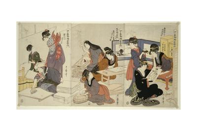 Artist, Block Carver, Applying Sizing, C.1803 Giclee Print by Kitagawa Utamaro