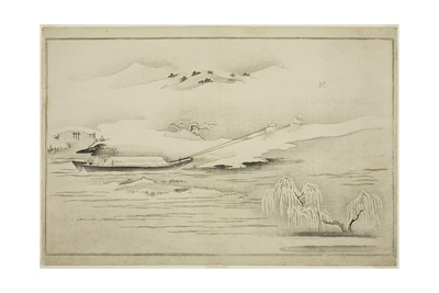Towing a Barge in the Snow, from the Album the Silver World, 1790 Giclee Print by Kitagawa Utamaro