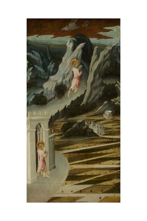 Saint John the Baptist Entering the Wilderness, 1455-60 Giclée-tryk af Giovanni di Paolo