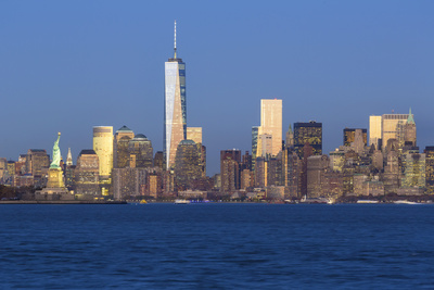 Statue of Liberty, One World Trade Center and Downtown Manhattan across the Hudson River Photographic Print by Gavin Hellier