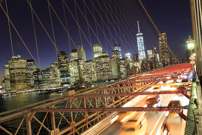 Usa, New York City, Brooklyn Bridge and Lower Manhattan Skyline Photographic Print by Michele Falzone