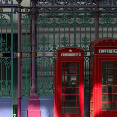 Red Telephone Boxes, Smithfield Market, Smithfield, London Photographic Print by Richard Bryant