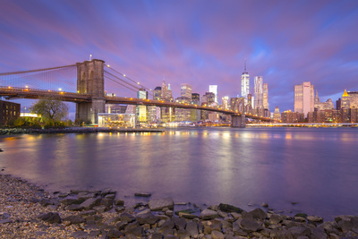 Brooklyn Bridge and Lower Manhattan/Downtown, New York City, New York, USA Photographic Print by Jon Arnold