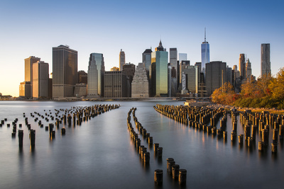 Lower Manhattan Skyline at Sunset from Brooklyn Bridge Park, Brooklyn, New York, USA Photographic Print by Stefano Politi Markovina