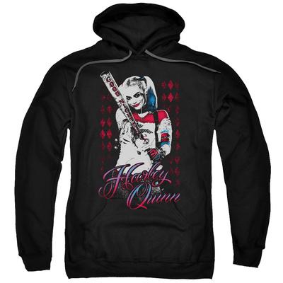 Hoodie: Suicide Squad- Distressed Harley Quinn At Bat Pullover Hoodie
