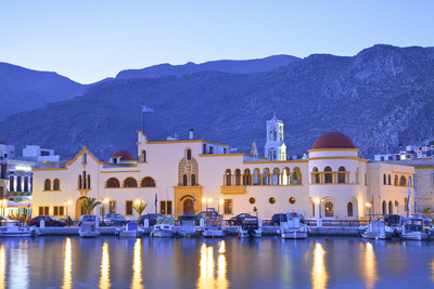Harbour at Pothia, Kalymnos at Dusk, Dodecanese, Greek Islands, Greece, Europe Photographic Print by Neil Farrin