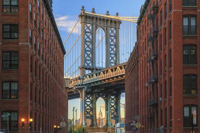 Usa, New York, Brooklyn, Dumbo, Manhattan Bridge and Empire State Building Photographic Print by Michele Falzone