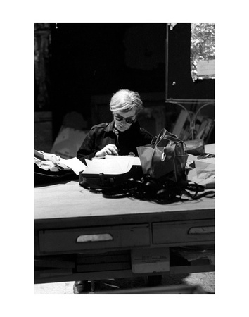 Andy at Typewriter, The Factory, NYC, circa 1965 Prints by Andy Warhol/ Nat Finkelstein