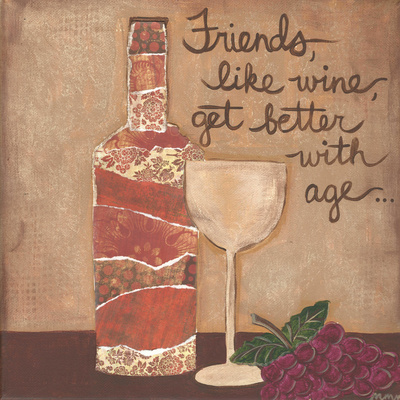 Friends And Wine Posters by Martin Monica