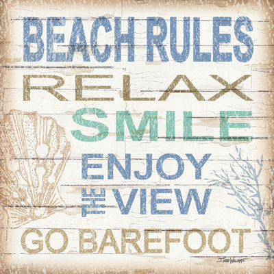 Beach Rules Sq Prints by Todd Williams