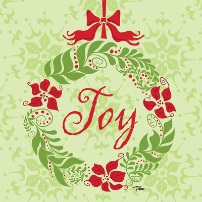 Green Joy Wreath Prints by Woo Teresa