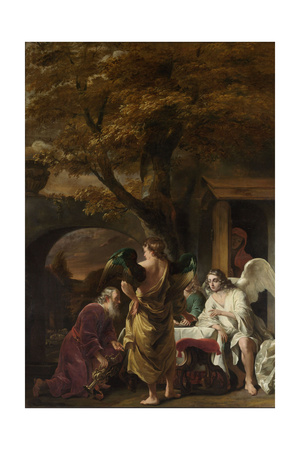 Abraham Entertaining the Three Angels Láminas por Ferdinand Bol