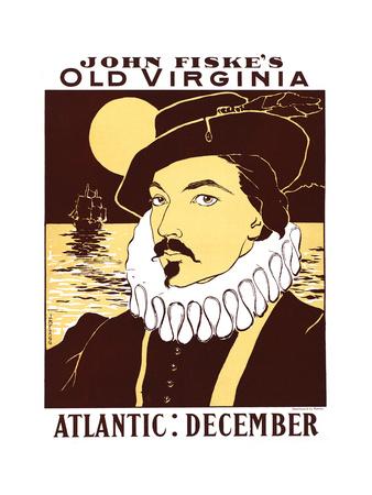 Atlantic: December, John Fiske's Old Virginia Print by James Montgomery Flagg