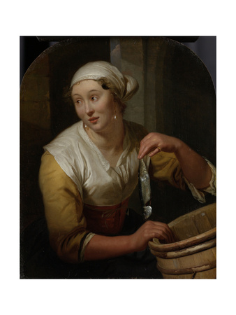 Woman Selling Herring Art by Godfried Schalcken