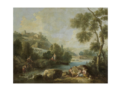 Landscape with Figures Print by Giuseppe Zais