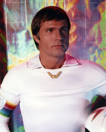 Gil Gerard in a Fitted White Long Sleeve Portrait Photo by  Movie Star News