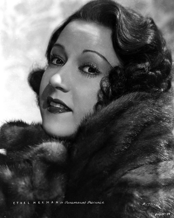 Ethel Merman Portrait in Black and White Photo by  Movie Star News