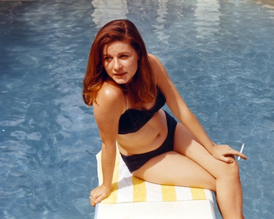 Patty Duke Seated on Diving Board in Blue Two Piece Photo by  Movie Star News
