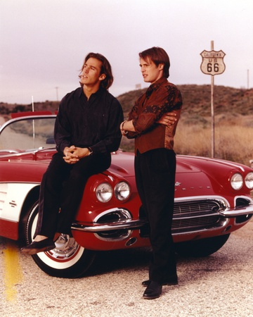 Route 66 Actors Posed with Red Car Photo by  Movie Star News