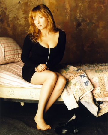 Rebecca Demornay sitting in Bed in Sexy Black Outfit Photo by  Movie Star News