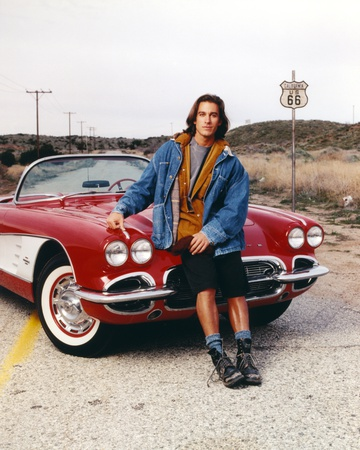 Route 66 Posed on Car in Blue Long Sleeves Jeans Photo by  Movie Star News