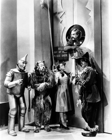 Wizard Of Oz Four People Listening at the Man Above Them in Black and White Photo by  Movie Star News