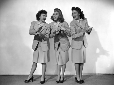 Andrew Sisters standing and Clapping in a Group Picture in Classic Photo by  Movie Star News