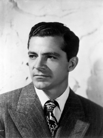 Dana Andrews Portrait in Striped Coat with Tie in Black and White Photo by  Movie Star News