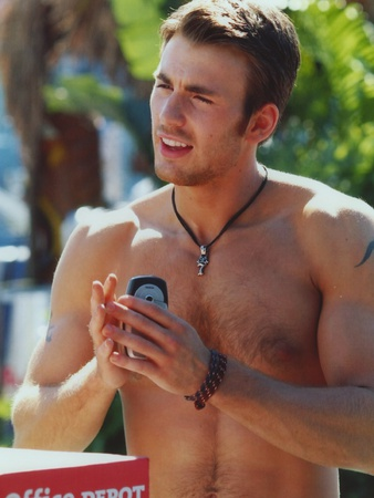 Chris Evans Topless Portrait Photo by  Movie Star News