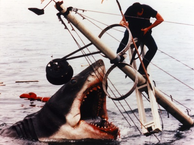 Jaws Movie Scene Giant Shark Attacking the Man standing on a Steel Post Photo by  Movie Star News