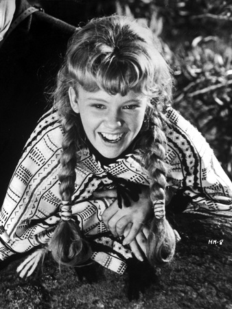 Hayley Mills sitting on Ground in Printed Blouse and laughing Photo by  Movie Star News
