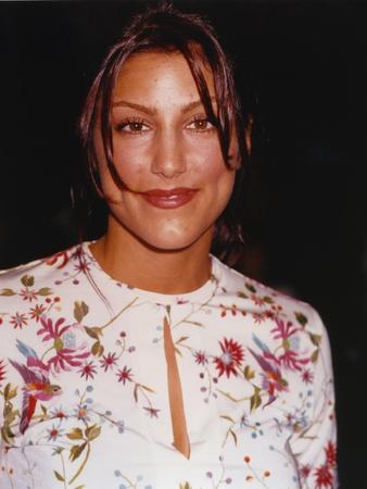Jennifer Esposito smiling in White Dress Portrait Photo by  Movie Star News