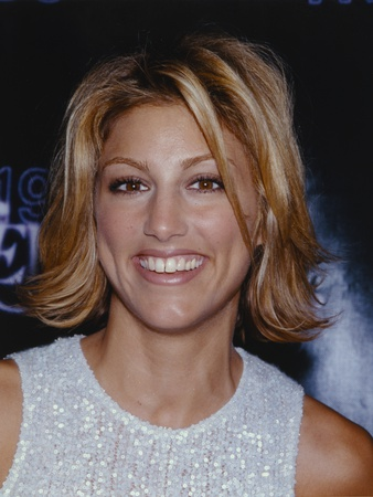 Jennifer Esposito smiling in Glitter Dress Close Up Portrait Photo by  Movie Star News