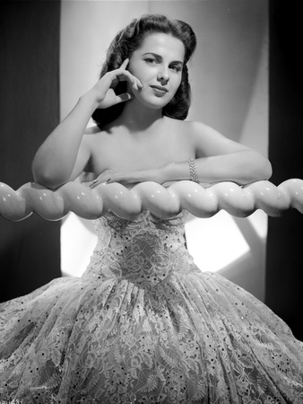 Martha Hyer on an Embroidered Tube Ball Gown Portrait Photo by  Movie Star News
