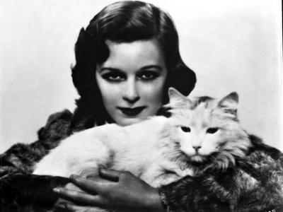 Margaret Sullivan Posed in Fur Dress with Cat Foto af  Movie Star News