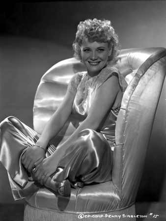 Penny Singleton Seated on Chair wearing Silk Dress Photo by  Movie Star News