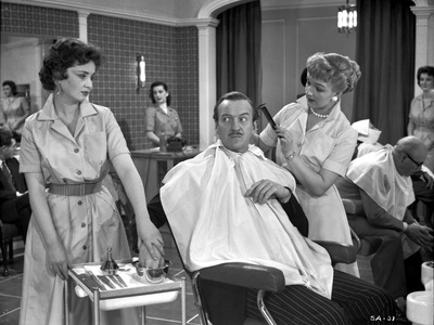 Silken Affair Cutting Hair in Black and White Photo by  Movie Star News