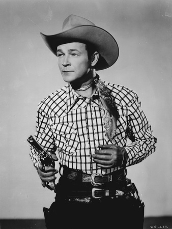 Roy Rogers Posed in Checkered Shirt Holding a Gun Photo by  Movie Star News