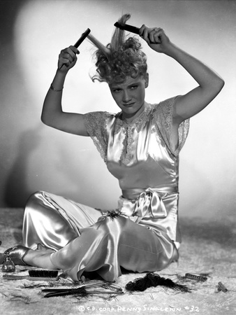Penny Singleton Seated wearing Silk Dress Combing Her Hair Photo by  Movie Star News