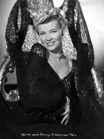 Penny Singleton smiling in Black Floral Dress Portrait Photo by  Movie Star News