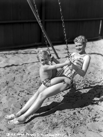 Penny Singleton Swing Riding with Son at the Beach Photo by  Movie Star News