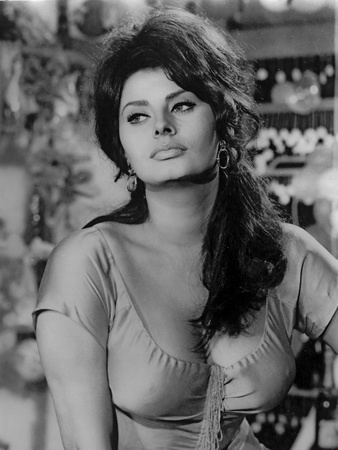 Sophia Loren wearing a Scoop-Neck Blouse in a Portrait Photo by  Movie Star News