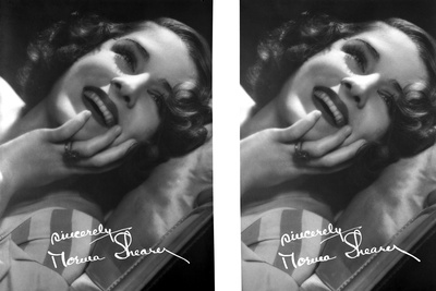 Norma Shearer Two Picture Collage in Black and White Foto af  Movie Star News
