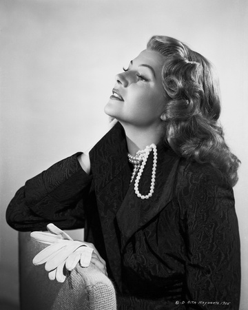 Rita Hayworth Posed in Black with Pearl Necklace Photo by Robert Coburn