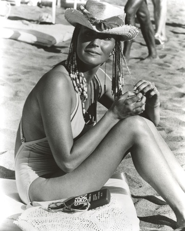Bo Derek on Sand in Swimsuit with Hat Photo by  Movie Star News